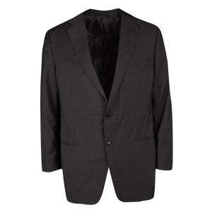 Ermenegildo Zegna Brown Self Striped Micronsphere Wool Custom Made Blazer XL