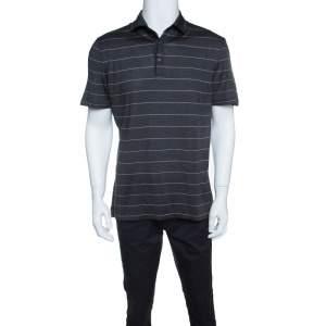 Ermenegildo Zegna Silk Grey and Pink Striped Polo T-Shirt L