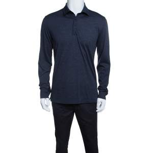 Ermenegildo Zegna Navy Blue Wool Cotton Knit long Sleeve Polo T-Shirt S