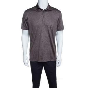 Ermenegildo Zegna Brown and White Silk Polo T-Shirt M