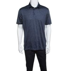 Ermenegildo Zegna Navy Blue Silk Slub Jersey Polo T-Shirt M