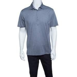 Ermenegildo Zegna Grey Cotton Pique Polo T-Shirt M