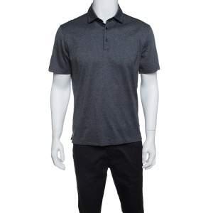 Ermenegildo Zegna Grey Marled Cotton Polo T-Shirt M