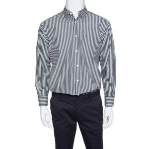 Ermenegildo Zegna Grey Striped Cotton Button Down Long Sleeve Shirt L