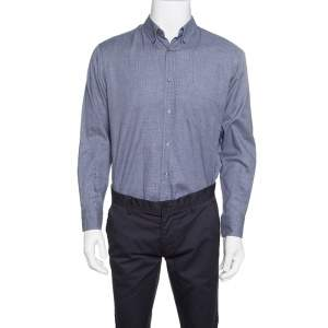 Ermenegildo Zegna Navy Blue and Grey Houndstooth Pattern Button Down Shirt XL