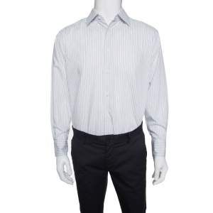 Ermenegildo Zegna Light Blue and Brown Striped Cotton Regular Fit Shirt L