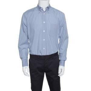 Ermenegildo Zegna Blue Checked Cotton Regular Fit Button Down Shirt L