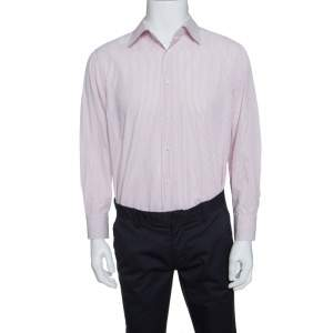 Ermenegildo Zegna White and Pink Striped Cotton Slim Fit Shirt XXL