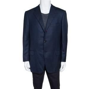 Ermenegildo Zegna Dark Blue Patterned Wool Blazer XXL