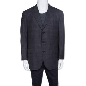 Ermenegildo Zegna Dark Grey Tartan Plaid Wool Blazer XXL