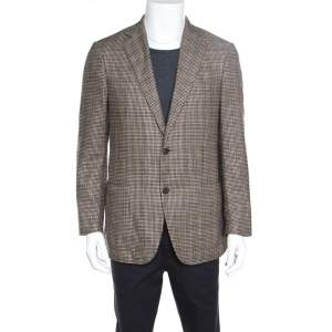 Ermenegildo Zegna Brown Silk and Cashmere Hounsdtooth Easy Fit Mila Blazer L
