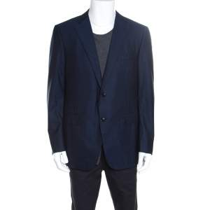 Ermenegildo Zegna Navy Blue Striped Wool Mila Blazer XXL