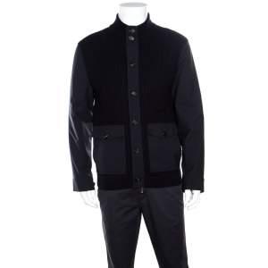 Ermenegildo Zegna High Performance Navy Blue Wool Leather Trim Detail Zip Front Cardigan S