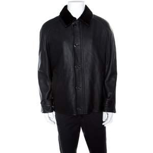 Ermenegildo Zegna Black Mink Fur Collar Detail Zip Front Deer Leather Jacket 3XL