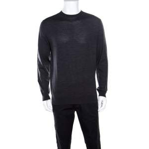 Ermenegildo Zegna High Performance Dark Grey Ribbed Trim Sweater L