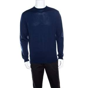 Ermenegildo Zegna High Performance Navy Blue Ribbed Trim Sweater L