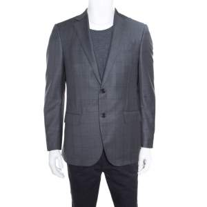 Ermenegildo Zegna Grey Checked Wool Mila Blazer L