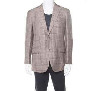 Ermenegildo Zegna Brown Linen Wool Prince of Wales Checked Easy Fit Mila Blazer L