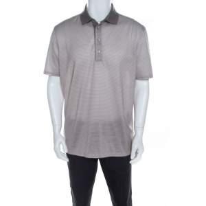 Ermenegildo Zegna Grey Geometric Print Cotton Short Sleeve Polo T Shirt XL