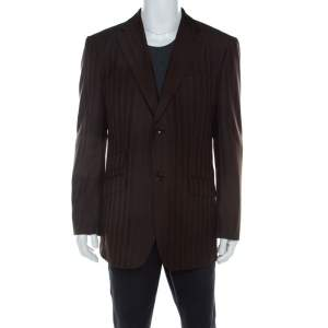 Ermenegildo Zegna Brown Herringbone Patterned Wool Tailored Blazer XL