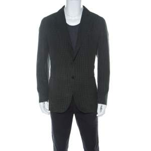 Ermenegildo Zegna Dark Green Checkered Seersucker Silk Regular Fit Blazer L