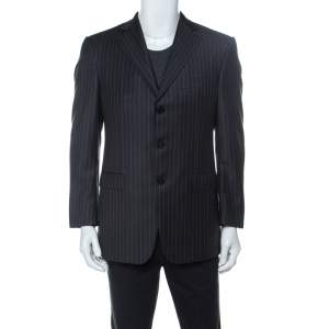 Ermenegildo Zegna Grey Striped Wool Classic Three Button Trofeo Blazer M