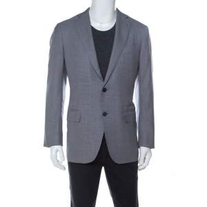Ermenegildo Zegna Bicolor Houndstooth Wool and Silk Blend Blazer L
