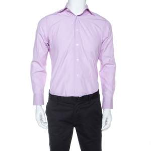 Ermenegildo Zegna Premium Lavender Striped Cotton Button Front Shirt L