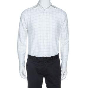 Ermenegildo Zegna Premium White Windowpane Check Cotton Shirt L