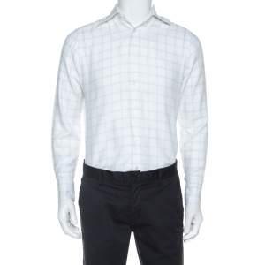 Ermenegildo Zegna Premium White Windowpane Check Cotton Shirt L