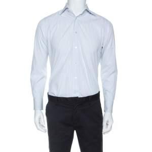 Ermenegildo Zegna Premium White Striped Print Cotton Shirt L