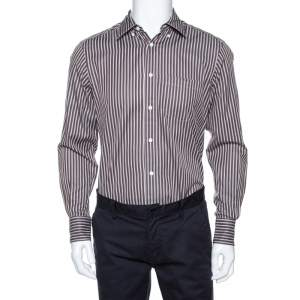 Ermenegildo Zegna Brown Striped Cotton Button Front Shirt M