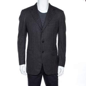 Ermenegildo Zegna Grey Striped Wool Three Buttoned Blazer M