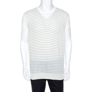 Ermenegildo Zegna Off White Striped Knit Sleeveless Jumper XL