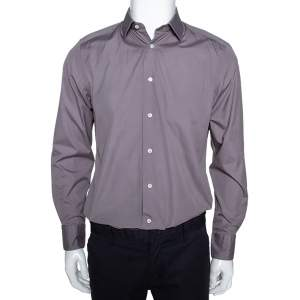 Ermenegildo Zegna Grey Cotton Trofeo Comfort Tailored Fit Shirt M