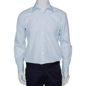 Ermenegildo Zegna Light Blue Textured Cotton Tailored Fit Shirt M