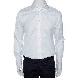 Ermenegildo Zegna Su Misura White Cotton Tailored Fit Shirt M