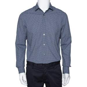 Ermenegildo Zegna Navy Blue Printed Seer Sucker Cotton Shirt M