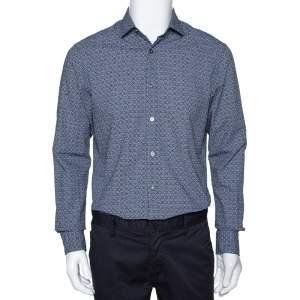Ermenegildo Zegna Navy Blue Printed Seer Sucker Cotton Shirt M