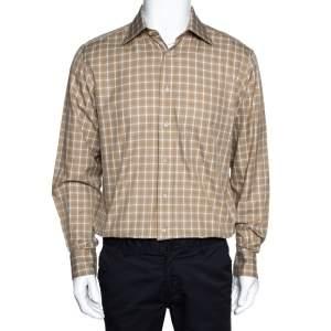 قميص ايرمنيجيلدو زينيا أكمام طويلة قطن كاروهات بيج M