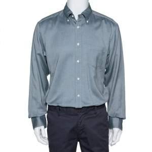 """قميص ايرمنيجيلدو زينيا """"أوكسفورد"""" أكمام طويلة قطن مونوكرومي مقاس كبير جداً (اكس لارج)"""
