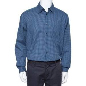 قميص إيرمنجليدو زينيا قطن مطبوع أزرق كحلي بأزرار أمامية مقاس كبير جدًا - إكس لارج