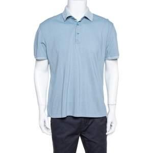 Ermenegildo Zegna Blue Honeycomb Knit Polo T-Shirt XL