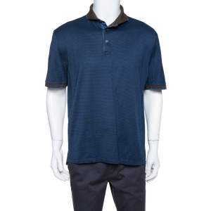 Ermenegildo Zegna Navy Blue Striped Knit Contrast Collar Detail Polo T Shirt 3XL
