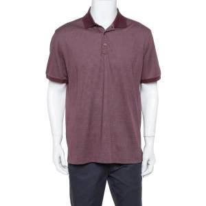 Ermenegildo Zegna Burgundy Dot Pattern Knit Polo T Shirt XL