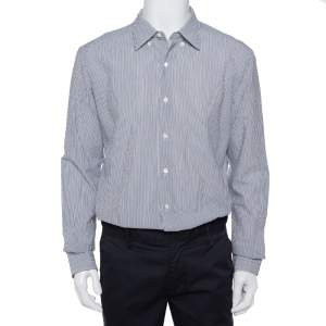 Ermenegildo Zegna White & Grey Crinkled Cotton Button Front Shirt XL
