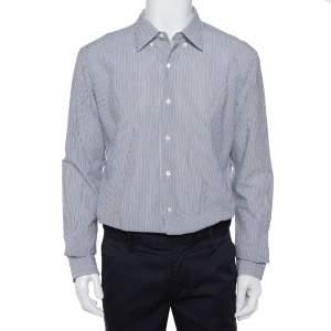 قميص ايرمينجيلدو زينيا أزرار أمامية قطن مجعد رصاصي و أبيض مقاس كبير جداً (اكس لارج)