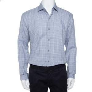 Ermenegildo Zegna Grey Check Patterned Cotton Button Front Shirt XL