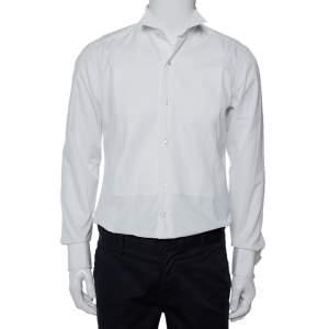 قميص توكسيدو ايرمينجيلدو زينيا مزين ياقة جناح قطن أبيض مقاس وسط (ميديوم)
