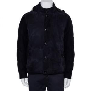 Ermenegildo Zegna Midnight Blue Suede & Cashmere Quilted Hooded Jacket L